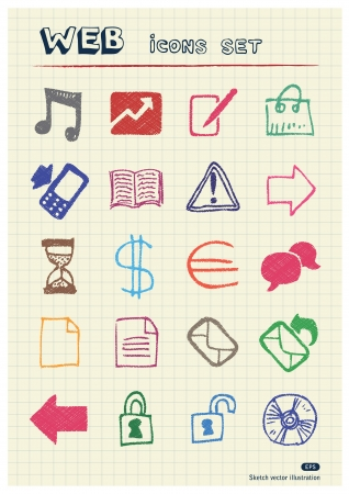 Business and media web icons set drawn by color pencils  Hand drawn elements pack isolated on paper   Vector