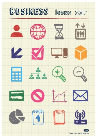 Business web icons set drawn by color pencils  Hand drawn elements pack isolated on paper Vector