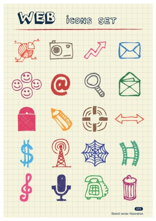 Business, media and social network web icons set drawn by color pencils  Hand drawn elements pack isolated on paper Vector