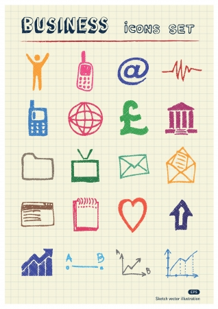 Business, shopping and work web icons set drawn by color pencils  Hand drawn elements pack isolated on paper Vector