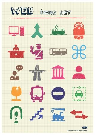 aduana: Aduanas y transporte web iconos urbanos conjunto elaborado por los elementos de color l�pices dibujados a mano pack aislado en papel