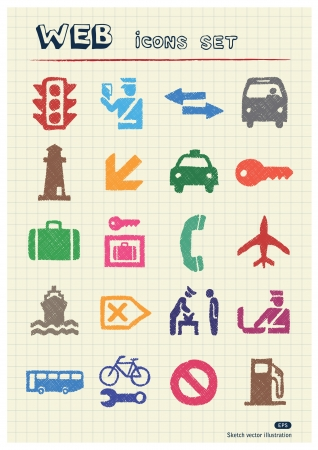 Customs and transport urban web icons set drawn by color pencils  Hand drawn elements pack isolated on paper Vector
