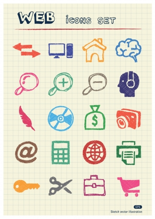 Doodle Internet and finance icons set drawn by color pencils  Hand drawn elements pack isolated on paper Vector