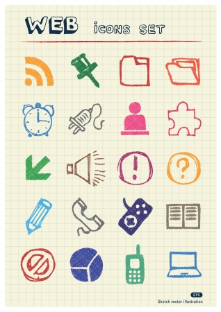 Doodle Internet web icons set drawn by color pencils  Hand drawn elements pack isolated on paper Vector