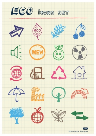 Ecology and environment web icons set drawn by color pencils  Hand drawn elements pack isolated on paper Vector