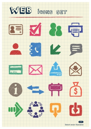 Finance and Internet icons set drawn by color pencils  Hand drawn elements pack isolated on paper Vector