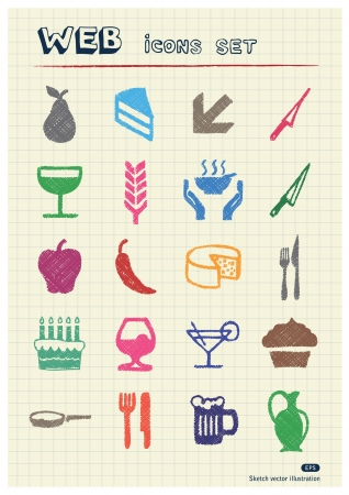Food icons set drawn by color pencils  Hand drawn elements pack isolated on paper Stock Vector - 17138669