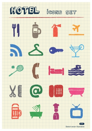 Hotel and service web icons set drawn by color pencils  Hand drawn elements pack isolated on paper Vector