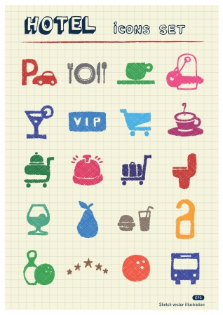 Hotel and service web icons set drawn by color pencils  Hand drawn elements pack isolated on paper Stock Vector - 17138743