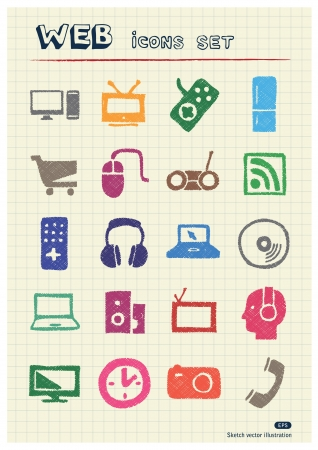 Household appliances and electronics web icons set drawn by color pencils  Hand drawn elements pack isolated on paper Vector