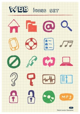Internet and media icons set drawn by color pencils  Hand vector elements pack isolated on paper Vector