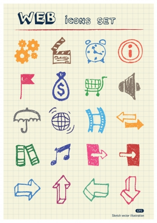 Internet and media icons set drawn by color pencils  Hand drawn elements pack isolated on paper Vector