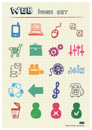 school website: Internet and media icons set drawn by color pencils  Hand drawn elements pack isolated on paper