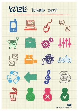 Internet en media iconen die is opgesteld door kleur potloden Hand getrokken elementen zakje geïsoleerd op papier