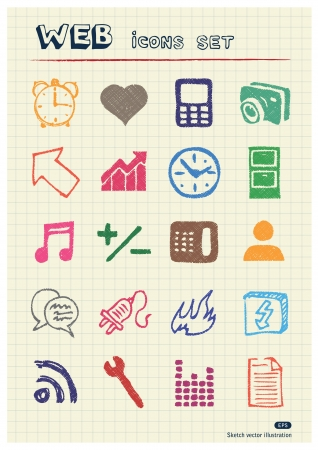 Internet and media icons set drawn by color pencils  Hand drawn elements pack isolated on paper Stock Vector - 17138727