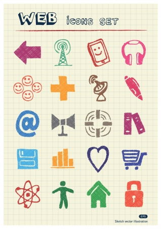 writing pad: Internet icons set drawn by color pencils  Hand drawn elements pack isolated on paper