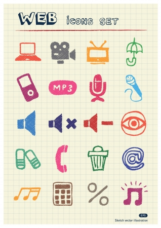 Internet, media and network web icons set drawn by color pencils  Hand drawn elements pack isolated on paper Vector