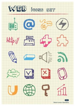 Icônes web Internet, les médias et la configuration du réseau dessiné par les éléments de couleur crayons dessinés à la main sur papier isolé meute