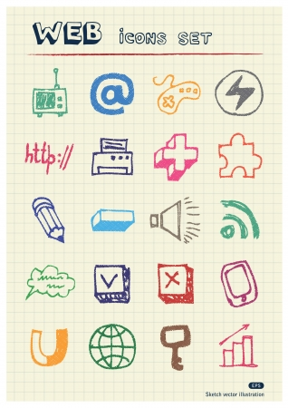 writing pad: Internet, media and network web icons set drawn by color pencils  Hand drawn elements pack isolated on paper Illustration