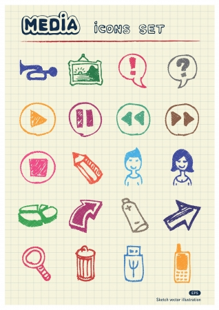 Media and arrows web icons set drawn by color pencils  Hand drawn elements pack isolated on paper Vector