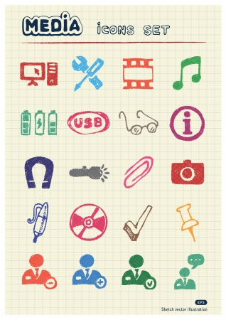 Media and business icons set drawn by color pencils  Hand drawn elements pack isolated on paper Vector