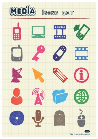 Media and business icons set drawn by color pencils  Hand drawn elements pack isolated on paper Stock Vector - 17139102