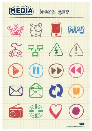 Media and communication web icons set drawn by color pencils  Hand drawn elements pack isolated on paper Stock Vector - 17138866