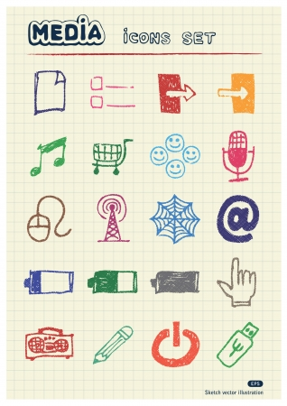 Media and communication web icons set drawn by color pencils  Hand drawn elements pack isolated on paper Vector