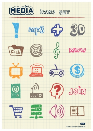 Media and social network web icons set drawn by color pencils  Hand drawn elements pack isolated on paper Stock Vector - 17138865