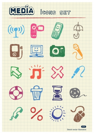 Media and social network web icons set drawn by color pencils  Hand drawn elements pack isolated on paper Vector