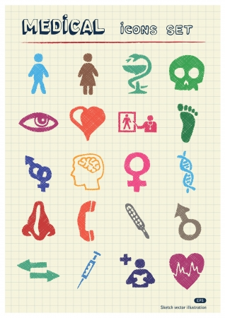 writing paper: Medical and human web icons set drawn by color pencils  Hand drawn elements pack isolated on paper