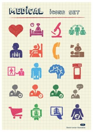 hopital cartoon: Web icons set m�dical �tabli par les �l�ments de couleur crayons dessin�s � la main sur papier isol� meute