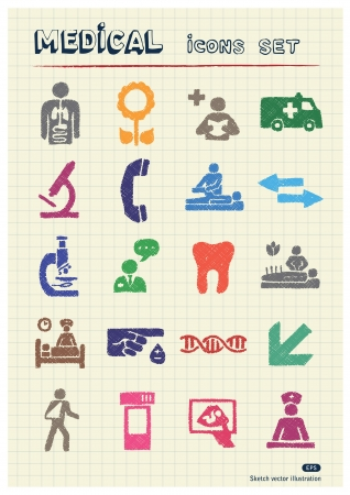 Medical web icons set drawn by color pencils  Hand drawn elements pack isolated on paper Stock Vector - 17139095