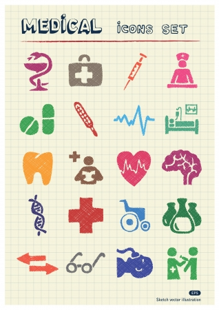 Medical web icons set drawn by color pencils  Hand drawn elements pack isolated on paper Vector