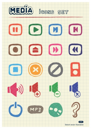 Music and media web icons set drawn by color pencils  Hand drawn elements pack isolated on paper Vector