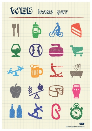 Rest, food and hobby icons set drawn by color pencils  Hand drawn elements pack isolated on paper Vector