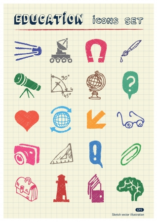 School and education web icons set drawn by color pencils  Hand drawn elements pack isolated on paper Stock Vector - 17139088