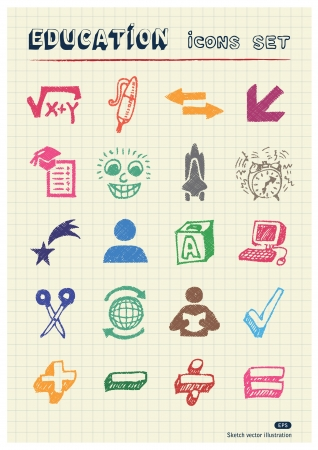 School and education web icons set drawn by color pencils  Hand drawn elements pack isolated on paper Vector