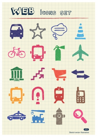 writing paper: Transport and road signs urban web icons set drawn by color pencils  Hand drawn elements pack isolated on paper
