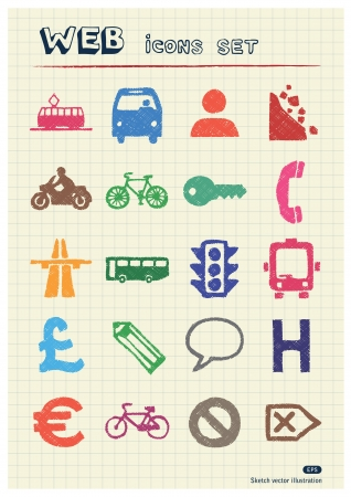Transport and road signs urban web icons set drawn by color pencils  Hand drawn elements pack isolated on paper Vector