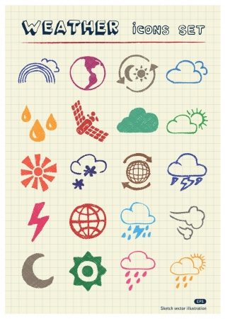 Weather web icons set drawn by color pencils  Hand drawn elements pack isolated on paper Vector