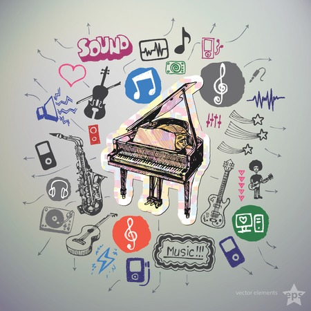 Hand drawn media icons set and sticker with piano.  Vector