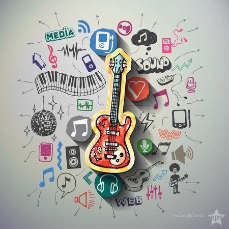 Collage de la música con los iconos de fondo. Ilustración vectorial