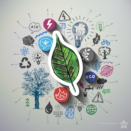 Eco energy collage with icons background. Vector illustration Illustration