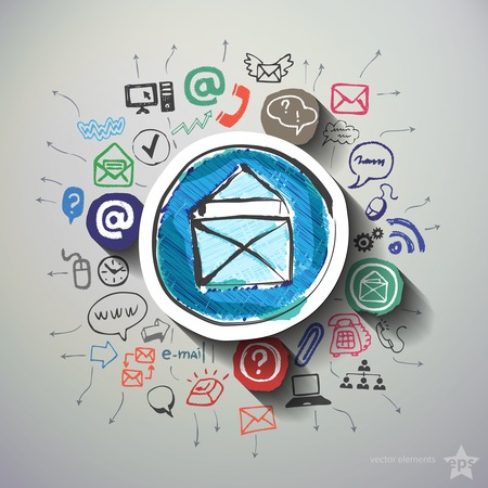 Communication collage with icons background. Vector illustration Vector