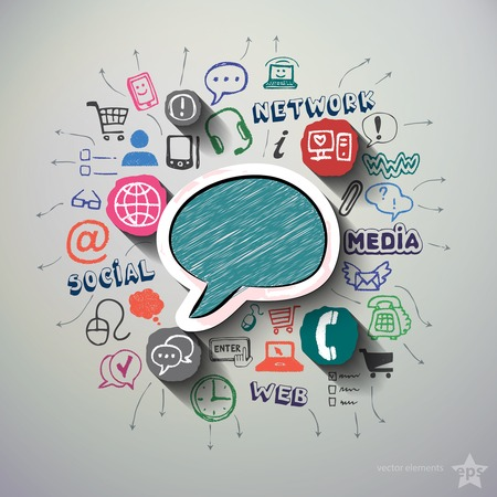 Social network collage with icons background. Vector illustration Vector