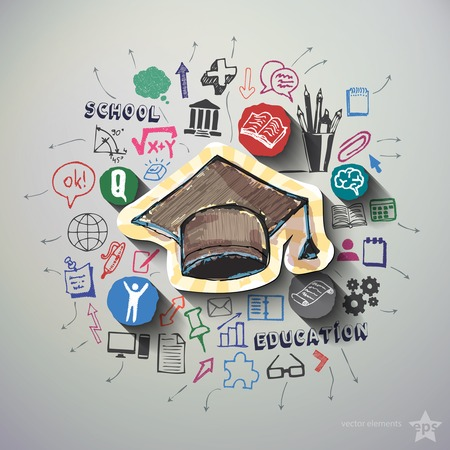 Education collage with icons background. Vector illustration