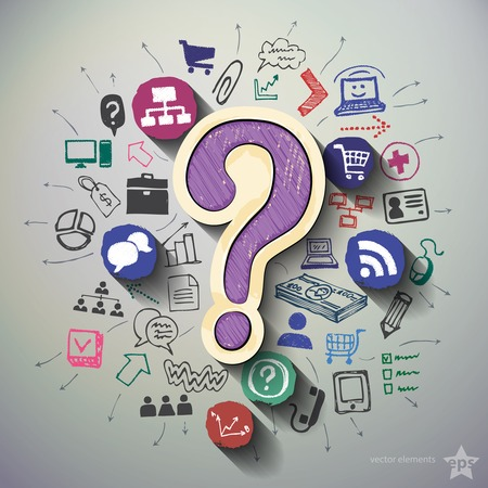 a question mark: Communication collage with icons background. Vector illustration Illustration