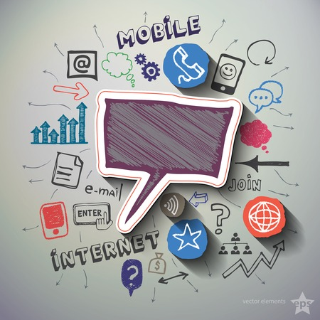 Mobile internet collage with icons background. Vector illustration Vector