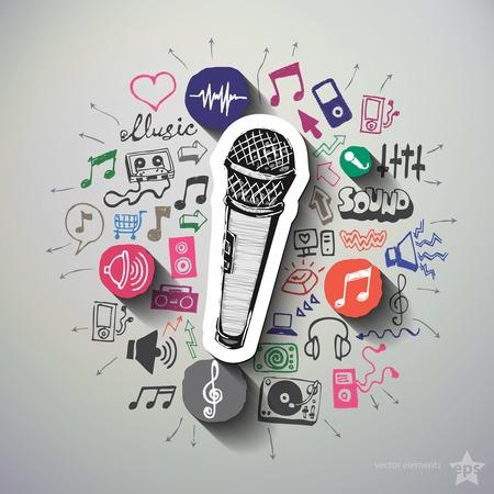 zábava: Hudba a zábava koláž s ikony pozadí. Vektorové ilustrace